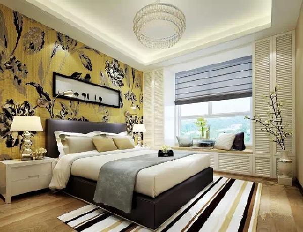 设计师分析主人的风格定位根据户型划分功能区域的使用,在窗边设计  了一个飘窗为主人闲暇时提供最佳的休憩空间,旁边都是储物衣柜,增加了储物空  间。个性的床头灯,华丽的马赛克背景墙使这个空间的氛围更新潮。