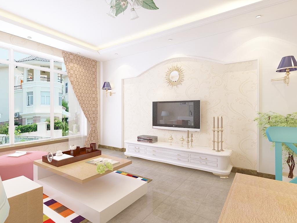 田园 二居 白领 收纳 旧房改造 80后 小资 客厅图片来自石家庄阳光力天装饰在瑞城-96-田园的分享