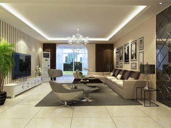 客厅电视背景墙使用简约的条形壁纸。家具以浅色系为主,整体色调以暖色为主。现代简约风格是舒适与时尚的结合,也是装修发展的潮流