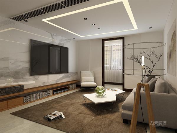 客厅电视背景墙采用了石材整块装饰,增加了空间对比性,增加光线感,使空间严肃整洁,其他墙面通刷卡其色乳胶漆。给人一种厚重感。
