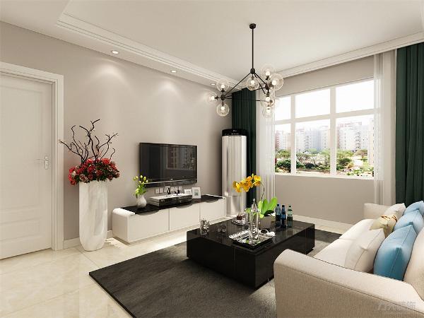 客厅多用黑、白、灰等中间色为基调色,通过色块来表现内涵,如橙色等暖色调表现家居的温暖;红、黄、蓝、绿等相对跳跃艳丽的色彩提升感观刺激。想从繁忙工作中解脱出来,不愿花许多心思打理房间、享受简单生活的人。