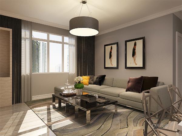客厅的整体空间的墙面采用高级灰乳胶漆,沙发为浅绿色布艺的色系,电视柜为浅黄木纹的材质