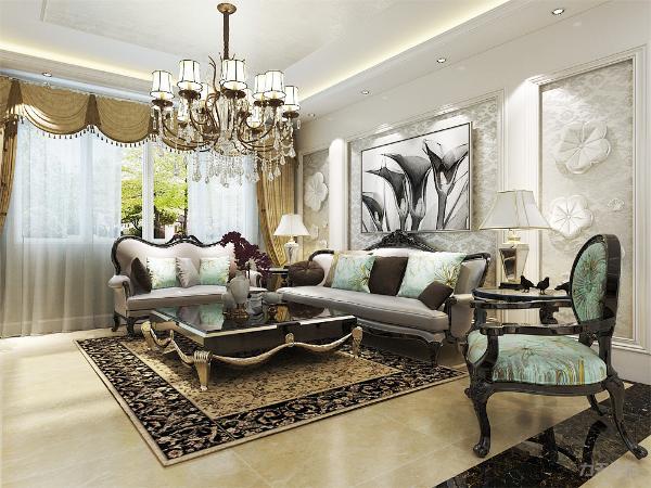 客厅空间使用了欧式壁纸,在沙发背景墙上使用了挂画以及石膏线圈边作为装饰,电视背景墙则选用了大理石以及菱形镜作为装饰