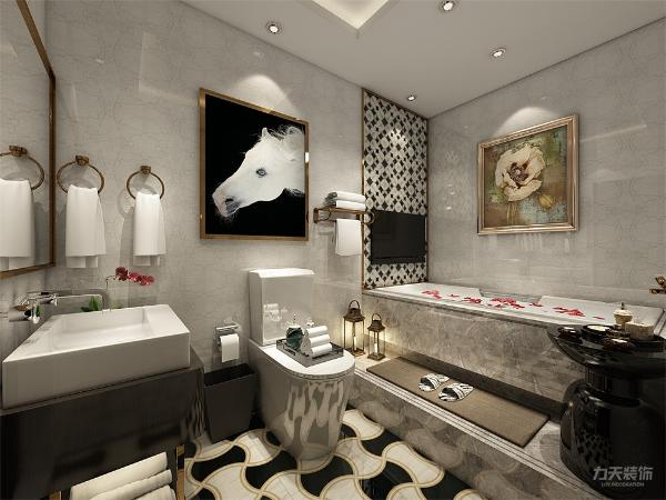 卫生间地面用黑白色个性装饰瓷砖铺贴,卫生间里放置了坐便,洗手台,浴缸等,浴缸做了一个台阶来区分空间。