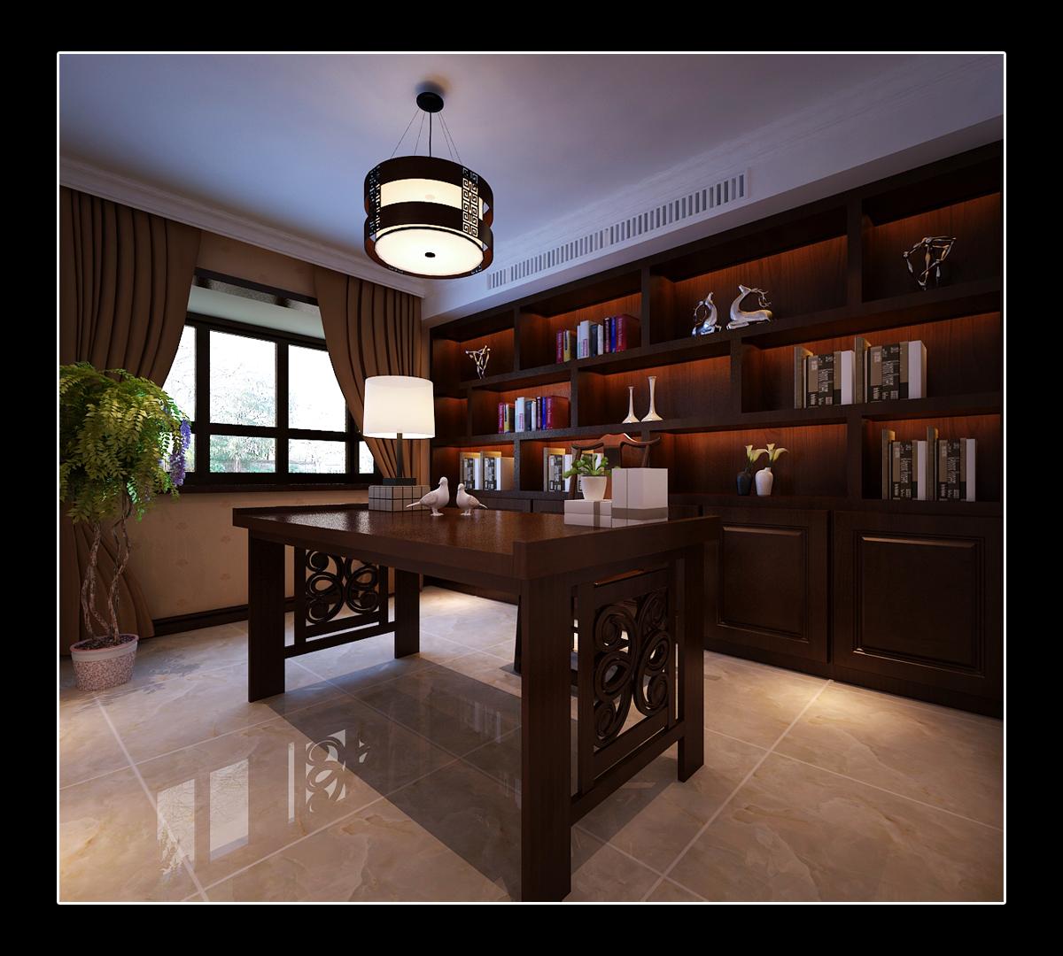 书房图片来自日升装饰秋红在曲江诸子阶140平米简欧风格赏析的分享