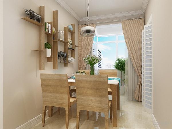 餐厅放置四人桌椅,餐桌上方悬挂着一盏吊灯。