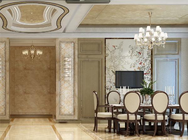 餐厅的设计中,采用了木色系的餐桌椅搭配不锈钢吊灯。且白色和明亮玻璃的结合创造出了现代的洁净与明亮