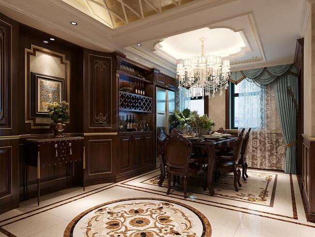 欧式 复式 高档装修 别墅 西安装修 餐厅图片来自西安城市人家装饰王凯在300㎡欧式大宅,就是这个范儿的分享