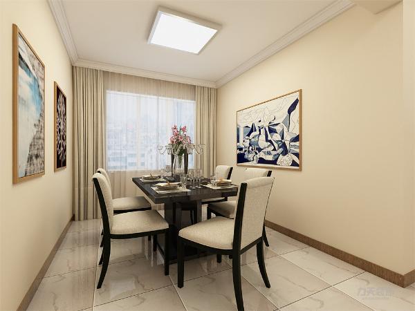 餐厅空间加大放了一张六人的餐桌,餐厅背景墙两边只放了装饰画,没有过多装饰。