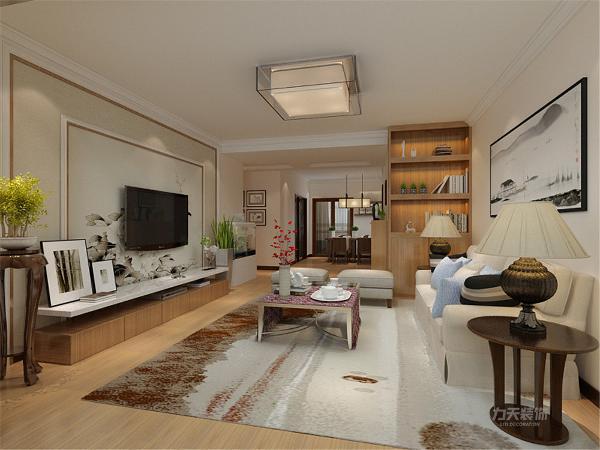客厅是主人品味的象征,因此,客厅是设计中的重点。在本方案中,背景墙颜色以素色为主,彰显高雅的品质。材质多以木为主,沙发背景墙挂一副中式挂画,增加空间韵味。