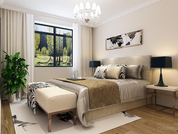 在卧室的设计中,同样我们采用了木色的木地板与灰色墙面相结合,地板采用的是实木复合地板具有防滑的功效,在床头的背景墙上采用的挂画形式,盆栽的加入使空间多了份生气