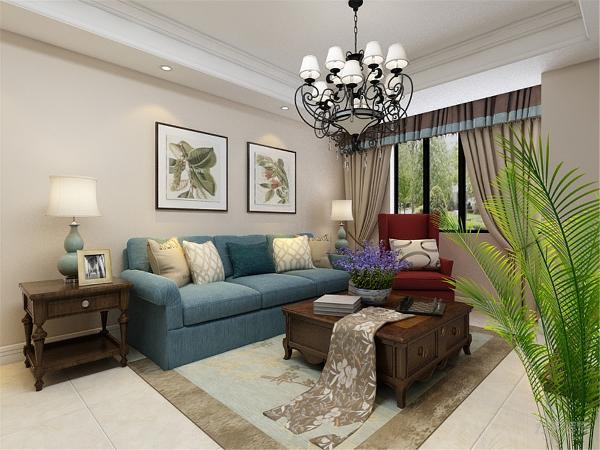 客厅背景墙采用了偏向现代风格的形式作整面墙装饰,增加与其他墙面的对比性与空间感,使空间严肃整洁。沙发墙装饰了色彩个性的衬画,简单大方。家具与整体深浅对比协调统一,营造出温馨典雅的气氛。
