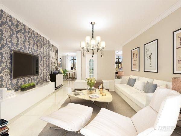 电视背景墙的装饰上,我们采用极简的风格,运用壁纸来进行装饰,表现了一种现代气息感,沙发采用的是白色系列。在沙发背景墙运用的是挂画形式,配搭灰地毯,窗帘结合家具的颜色为深灰色,墙面运用的是浅咖色的墙面