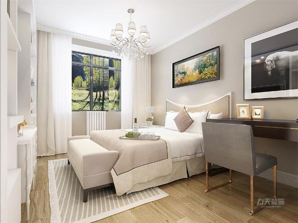 卧室的设计中,同样我们采用了木色的木地板与米驼色墙面相结合,白色的床配搭灰色系的双人床使空间有了少许温暖和亲切,地板采用的是实木复合地板具有防滑的功效,在床头的背景墙上采用的挂画形式,灯选用的是水晶灯