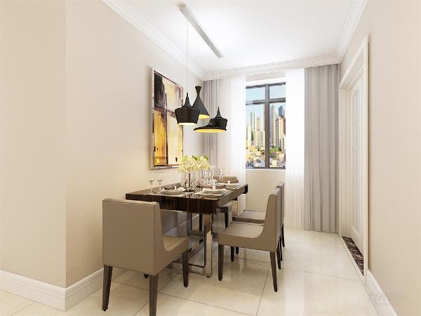 餐厅的设计中,采用了灰色的座椅,餐桌运用的是不锈钢材质与木质混搭的现代桌椅,就餐区的背景采用的是装饰挂画,盆栽的配搭使空间更加自然。地面采用的是浅色地砖。