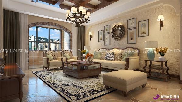 中海泊宫175平四室两厅美式风格装修效果图
