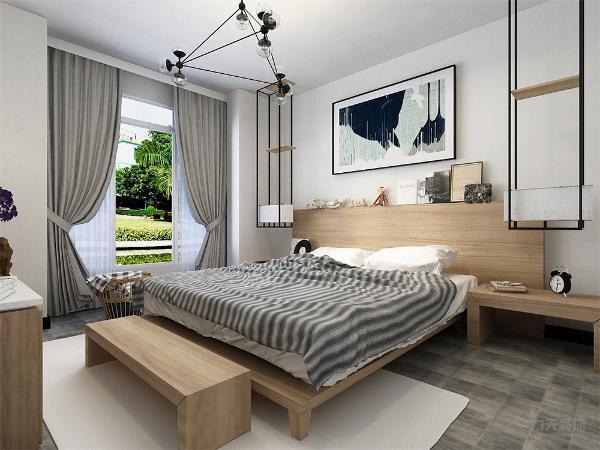 卧室的设计整体很素雅,业主疲惫时会很放松,本设计整体很温馨,舒适,适合居住。适度的装饰使家居不缺乏时代气息,使人在空间得到精神和身体放松,并紧跟时尚的步伐,也满足现代人对生活向往的乐趣。