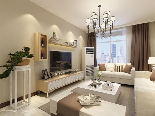 客厅内沙发的选择为三加二加榻,使空间很饱满,墙上的挂画的选择很素雅,入户门边放有鞋柜,电视背景墙的设计很简单大方,旁边放有绿植,增加了空间的活力