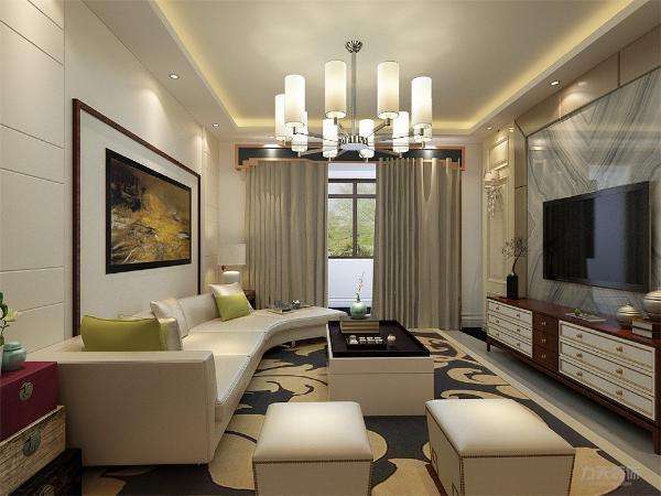 客厅中墙面与地面采用了较暖的色彩,更加突出户主对个性的追求。在全部的装饰物中都是用的极简的线条,看起来简洁、轻快。