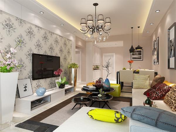 客厅设计采用简约明朗的线条,将空间进行了合理的分隔。整体颜色以简洁的咖色为背景,只有沙发组合几个大件是灰色的,在客厅里做一个色彩对比,显出现代简约的格调。