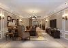 客厅:硬装部分采用了很克制但很典型的欧陆风格,充分使用石膏勾勒造型。