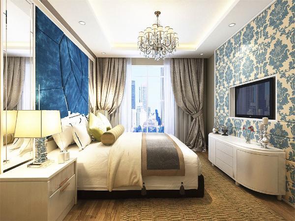 卧室做了电视背景墙和床头背景墙,使空间更加饱满,更有内容,适度的装饰是家居不缺乏时代气息,使人在在空间得到精神和身体的放松,并紧跟着时尚的步伐,也满足的人对生活向往的乐趣。