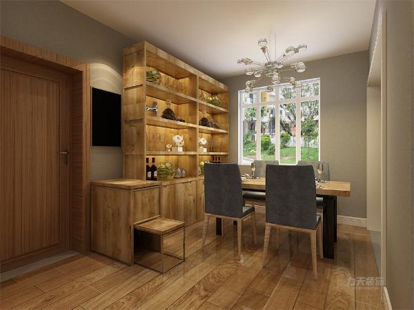 餐厅餐桌木纹桌面,座椅选择和沙发同材质蓝灰色与客厅呼应,餐边柜选择浅色木纹。