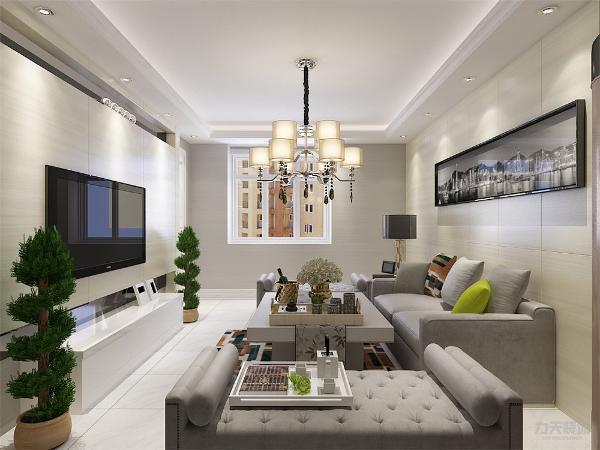 沙发茶几的材质都是简洁大方的,沙发以浅灰色为主,配上了比较鲜艳的靠枕,主色调橘色的地毯,及600*600的抛光地砖,颜色层次有变化。