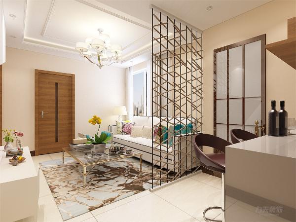 客厅的红色背景墙,凸显主人的热情好客,纯白的沙发,黑色的轮廓线,彩色的抱枕,给整个空间增添了活力,餐厅内设置了一个双人吧台,增加了空间感。
