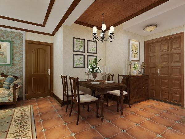 餐厅没有背景墙,用画装饰,简单大方,增加装饰性,既美观又实用。