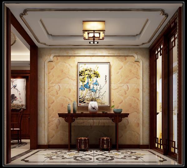 打开大门,首先映入眼帘的是玄关大门处大理石背景,加上如意简化纹样线条,搭配地面如意拼花,对应如意天花,寓意户主一家吉祥如意的好彩头。