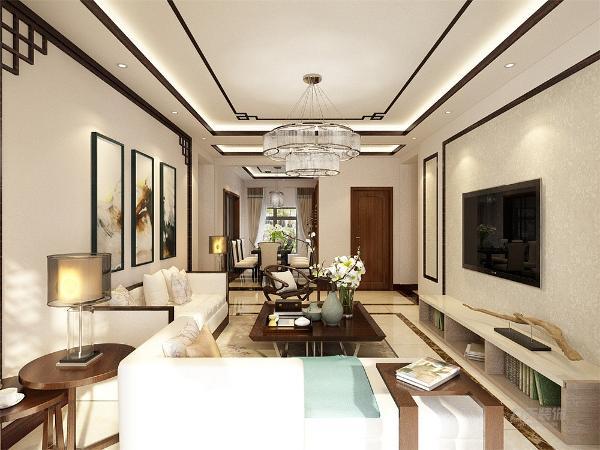 客厅处的沙发背景墙大面积运用了水墨画作为壁纸,也在墙上挂有青花瓷作为装饰。电视背景墙采用大面积的素色壁纸,不仅使人视线得到拓展、放松,更体现了空间设计中的有限的空间里制造纵深感的设计理念。