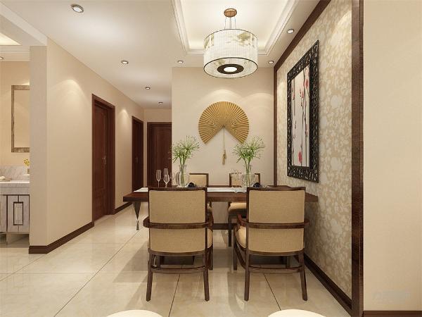 餐厅和客厅采用回字形吊顶,地面采用800*800的地砖。