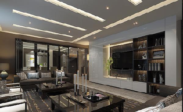 采用了经典的黑白色作为主色调,以有着凹凸一致的柜子,搭配上木质吊顶和茶几,把整个客厅衬托的非常的低调、优雅。