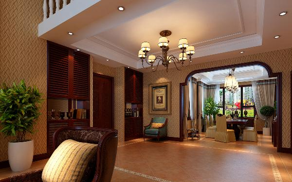一层客厅与餐厅延续了负一层会客空间的装饰设计手法,空间体量饱满大气。