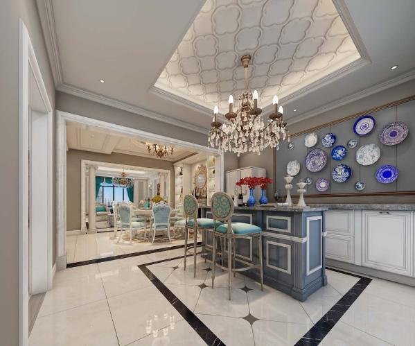 西厨的整体颜色与客厅餐厅相同,都以浅咖色为主。因为这个户型厨房的面积比较小,所以设计师将厨房的功能延伸到外面;