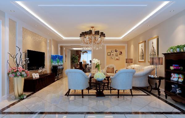 客厅:地面采用暖黄色全抛釉瓷砖,选用棕黑色波打线,和棕色木质家具呼应,使地面主次分明。墙面的大面积部分采用素色壁纸,选用大花型壁纸作为电视背景,再结合纯白色装饰板,增加空间的层次感。