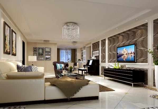 客厅整体色调以黑白为主体穿插卡其色、咖色等中性色系;珍珠白的皮质沙发作为空间的主体家具,颜色亮丽的抱枕配以精致的深紫色单椅让空间富有层次,深浅合理搭配;客厅最为突出的电视背景墙是点睛之笔