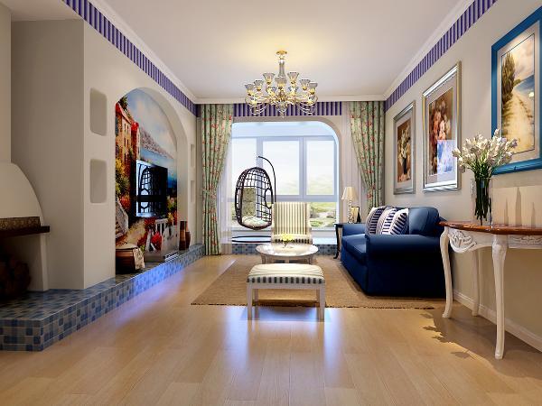 客厅:简单的白色石膏平顶素线搭配简易金属吊灯,浅色木质地板和白色的墙体搭配过于单调,所以在墙面顶部搭配一圈蓝白马赛克条纹的装饰,拉升了整个空间的高度。