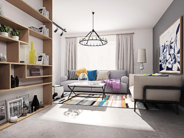 客厅:客厅没有采用常规的沙发面对电视的摆放方式,而是遵循着常规北欧家庭的客厅安排。年轻的业主不看电视,因此客厅没有预留电视机的位置。客厅对于业主来讲,主要的功能是会客。