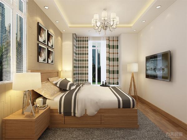 卧室中的床头背景墙选择与客厅电视背景墙同样的造型,飘窗台面铺设人造石可做休息区域,地面选用强化复合地板,家具与客厅的家具同样使用原木色成套家具,使整个空间更加整洁统一。