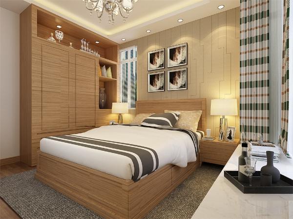 卧室中的床头背景墙选择与客厅电视背景墙同样的造型,飘窗台面铺设人造石可做休息区域,地面选用强化复合地板,家具与客厅的家具同样使用原木色成套家具,使整个空间更加整洁统一