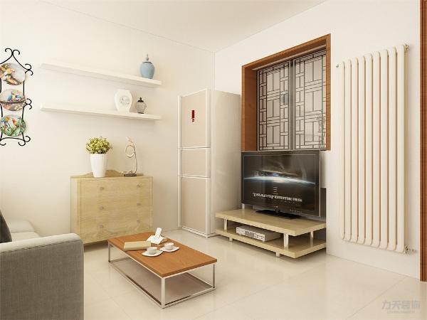 客厅与门厅之间砌墙留一个窗户口, 隔处一个小空间。将原来电视背景墙和沙发的位置转动90度,客厅地面与厨房门厅位置通铺800*800白色地砖