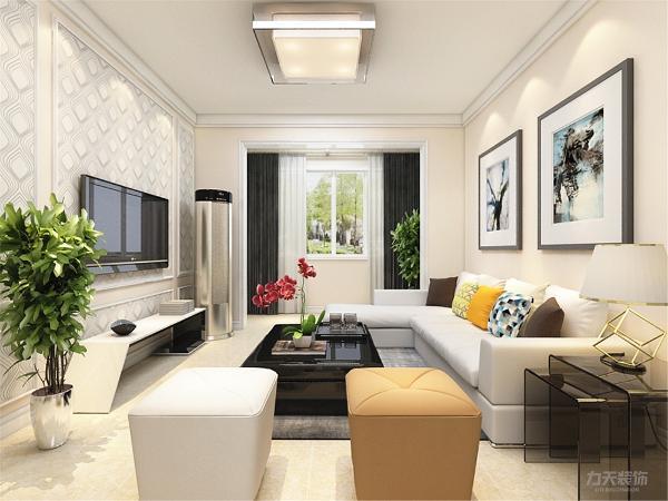 客厅没有做电视背景墙,用壁纸和石膏线搭配做装饰,这样合理利用了空间,增加现代感。沙发背景墙,用挂画做装饰,使空间更明亮,色调统一,给人一种温馨视觉感受。
