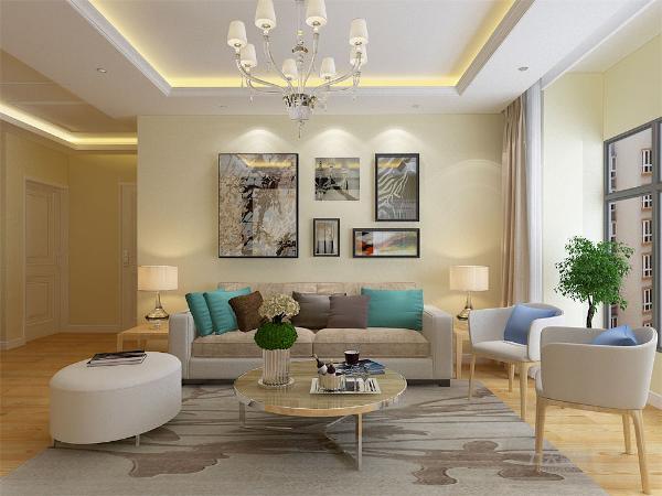 客厅的设计也是以黄色调为主,回型吊顶,家具选用了白色和木色家具,咖啡色窗帘。在装饰画,沙发,的材质上选择了冷暖对比,色彩冲击力强的颜色相称。空间氛围活跃富有生机
