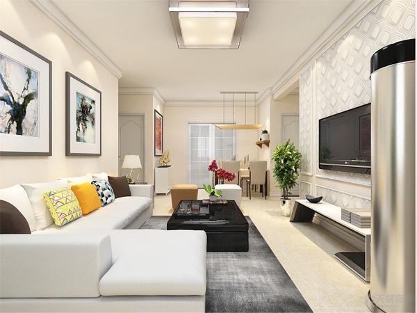 客厅没有做电视背景墙,用壁纸和石膏线搭配做装饰,这样合理利用了空间,增加现代感。沙发背景墙,用挂画做装饰,使空间更明亮,色调统一,给人一种温馨视觉感受