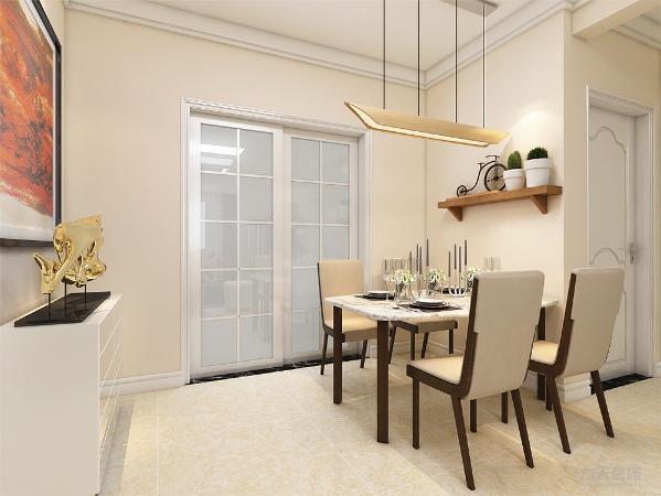 餐厅背景墙用模板、摆件做装饰,简单大方,增加装饰性,既美观又实用。