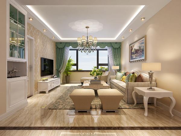 客厅空间宽敞明亮,格局方正。设计直线圈顶,增加顶面空间层次感。融入线光源与点光源的点缀,空间氛围感温馨不失雅致。墙面墙漆颜色选择了近两年比较流行的米咖色的色系,搭配米色系的欧式团花壁纸做电视背景墙。