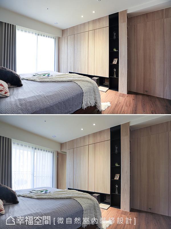 柜体以梧桐木皮带来线性切割造型,结合无把手设计发挥隐藏门机能,淡化通往主卧更衣室的入口动线。