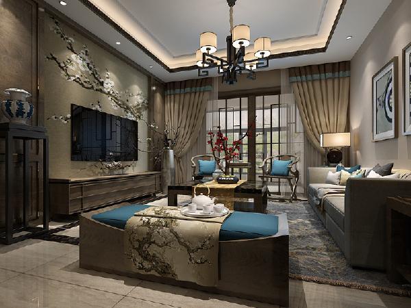 客厅电视背景墙上木饰面的稳重,加上客厅背景墙的窗棂设计,对称式的布局方式,格调高雅,造型简朴优美,色彩浓重而成熟。